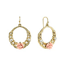 2028 Gold-Tone Pink Porcelain Rose with Simulated Pearl Front Face Hoop Earrings