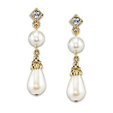 2028 Gold-Tone Simulated Pearl with Crystal Accent Drop Earrings
