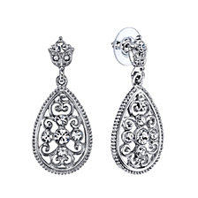 2028 Silver-Tone Crystal Filigree Pearshape Drop Earrings