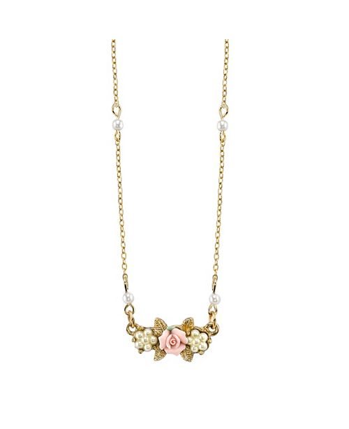 """2028 Gold-Tone Simulated Pearl Pink Porcelain Rose Necklace 16"""" Adj."""