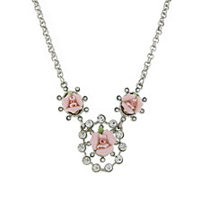 "2028 Silver-Tone Crystal and Pink Porcelain Rose Necklace 16"" Adjustable"