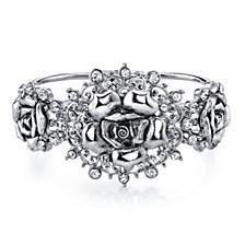 Silver-Tone Crystal Flower Hinged Bracelet