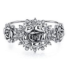 2028 Silver-Tone Crystal Flower Hinged Bracelet