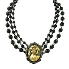 "2028 Black-Tone and Gold-Tone Triple Strand Cameo Necklace 16"" Adjustable"