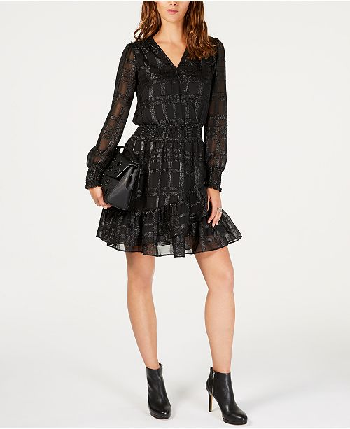 2fa02732827d ... Michael Kors Smocked Jacquard Dress, In Regular & Petite Sizes ...