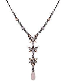 "Jenny Packham Hematite-Tone Crystal Lariat Necklace, 16"" + 2"" extender"