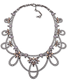 "Jenny Packham Hematite-Tone Crystal Openwork Statement Necklace, 16"" + 2"" extender"