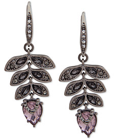 Jenny Packham Hematite-Tone Crystal Leaf Drop Earrings