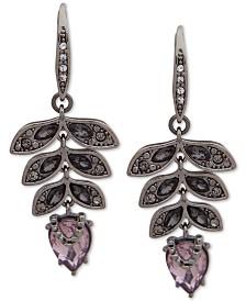 Jenny Packham Hematite-Tone Crystal Leaf Drop Earrings