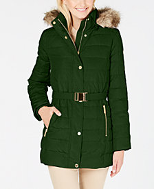MICHAEL Michael Kors Petite Faux-Fur-Trim Hooded Down Coat