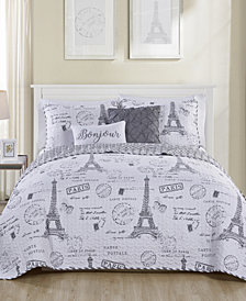 VCNY Home Paris Night Reversible Quilt Set Collection