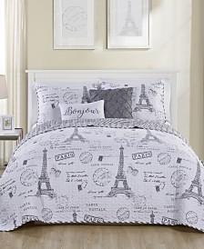 VCNY Home Paris Night Reversible Quilt Set Collection