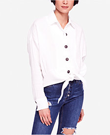 Free People Sunstreaks Cotton Tie-Front Shirt
