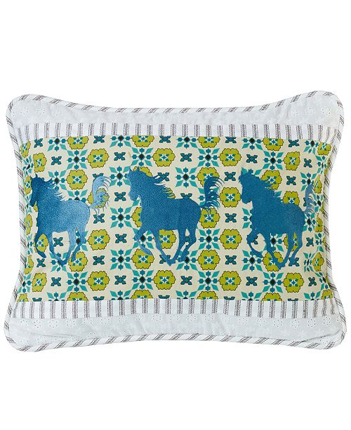 """HiEnd Accents Horse Embroidery 16""""x21"""" Pillow"""