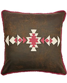 """18""""x18"""" Faux Leather Pillow Southwestern Embroidery"""