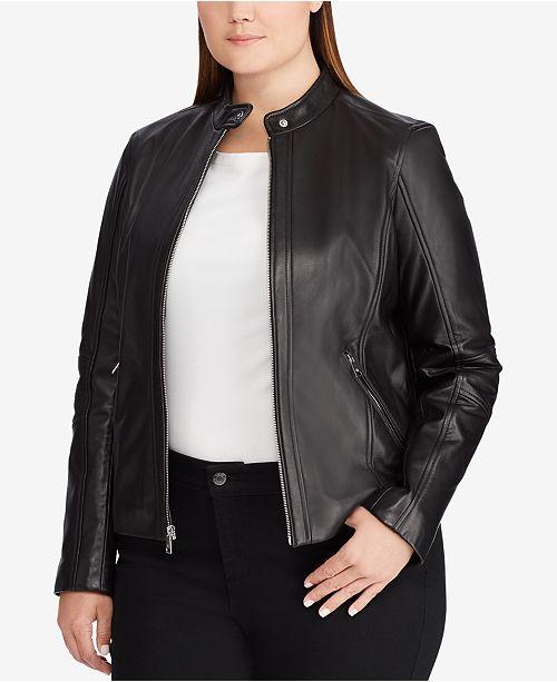 1662e3f00c7 Lauren Ralph Lauren Plus Size Leather Jacket   Reviews - Coats ...