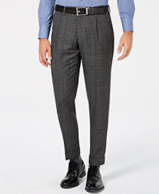 Tallia Men's Slim-Fit Charcoal Plaid Wool Suit Pants