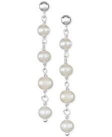 Cultured Freshwater Pearl (5-5-1/2mm) Chain Drop Earrings in Sterling Silver