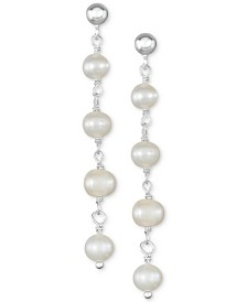 Cultured Freshwater Pearl (5-5-1/2mm) Chain Drop Earrings in Sterling Silver