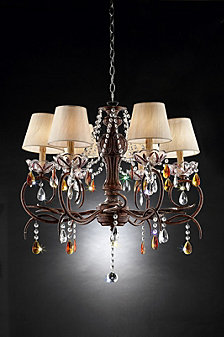 "27"" Magnolia Crystal Bronze Ceiling Lamp"