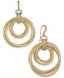 Alfani Gold-Tone Pavé Multi-Hoop Drop Earrings, Created for Macy's