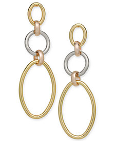 Alfani Tri-Tone Linked Hoop Triple Drop Earrings, Created for Macy's