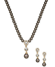 "Charter Club Gold-Tone Crystal & Imitation Pearl Lariat Necklace & Drop Earrings Set, 17"" + 2"" extender, Created for Macy's"
