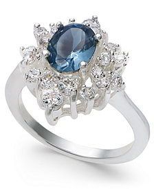 Charter Club Silver-Tone Crystal & Stone Oval Halo Ring, Created for Macy's