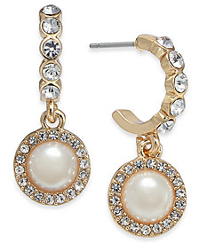 Charter Club Gold-Tone Crystal & Imitation Pearl Hoop Earrings, Created for Macy's
