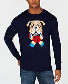 Club Room Men's Scarf Bulldog Sweater, Created for Macy's