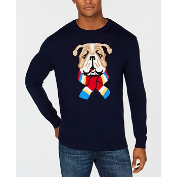 Club Room Mens Bulldog Pullover Sweater
