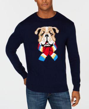 Club Room Men's Scarf Bulldog Sweater, Created for Macy's - Navy Blue