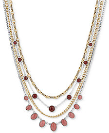 """Lucky Brand Two-Tone Stone 15"""" Multi-Layer Necklace"""