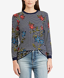 Lauren Ralph Lauren Striped Floral-Print Top