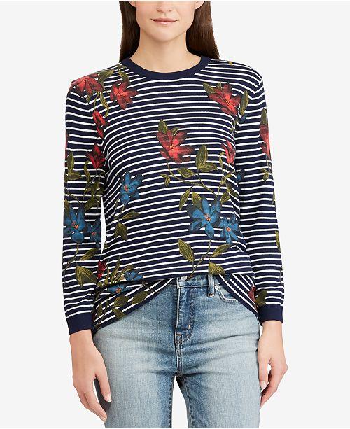 d5361c4d7cb1d1 Lauren Ralph Lauren Striped Floral-Print Top   Reviews - Sweaters ...