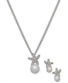 "Charter Club Silver-Tone Pavé & Imitation Pearl Starfish Pendant Necklace & Stud Earrings Set, 17"" + 2"" extender, Created for Macy's"