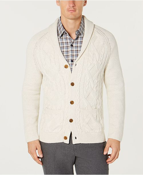 8a74ad4145a3d5 Tasso Elba Men's Shawl Collar Cable Knit Cardigan, Created for Macy's