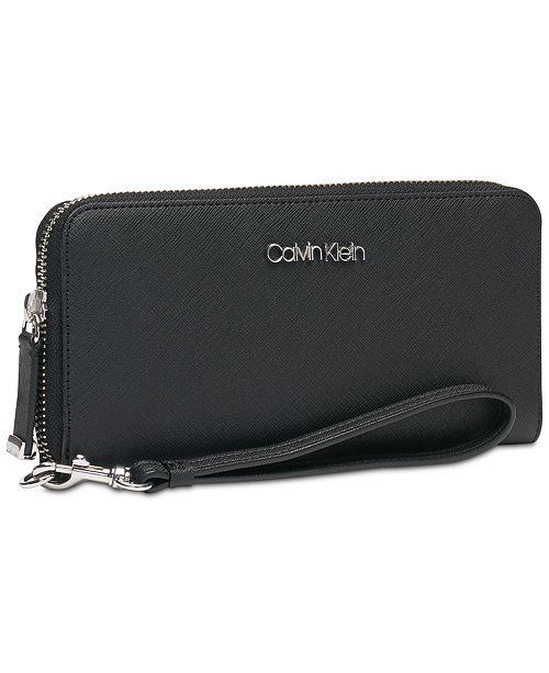 4d6596555d Calvin Klein Saffiano Leather Zip-Around Wallet & Reviews - Handbags ...