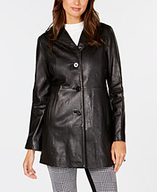 Anne Klein Petite Single-Breasted Leather Jacket