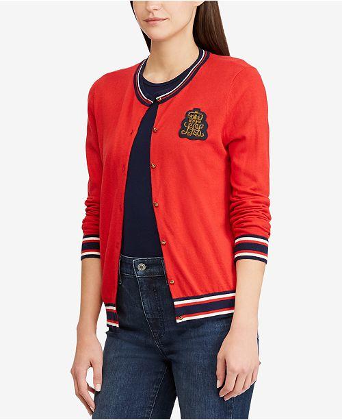 d7b9e31dc3ac Lauren Ralph Lauren Bullion-Patch Cardigan - Sweaters - Women - Macy s