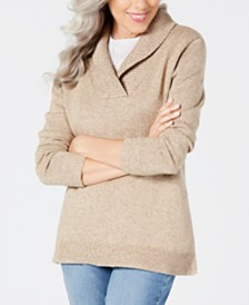 Karen Scott Cotton Marled Shawl-Collar Sweater, Created for Macy's