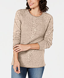 Karen Scott Marled Cable-Knit Sweater, Created for Macy's