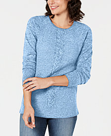 Karen Scott Petite Cable-Detail Sweater, Created for Macy's