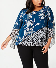 Alfani Plus Size Printed Angel-Sleeve Top, Created for Macy's