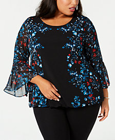 Alfani Plus Size Printed Bell-Sleeve Bubble-Hem Top, Created for Macy's