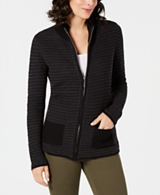 Karen Scott Petite Textured Zip-Front Cardigan, Created for Macy's