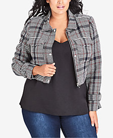 City Chic Trendy Plus Size Cropped Plaid Jacket
