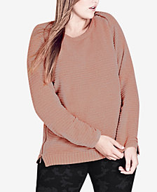 City Chic Trendy Plus Size Zipper-Trim Sweater