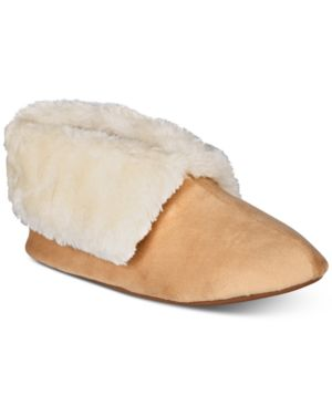 Image of Charter Club Plush Faux-Fur Booties Slippers, Created for Macy's