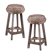"Rutina Backless Round Water Hyacinth 24"" Stool (Set Of 2), Quick Ship"